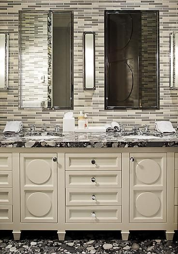 black granite and white bathroom