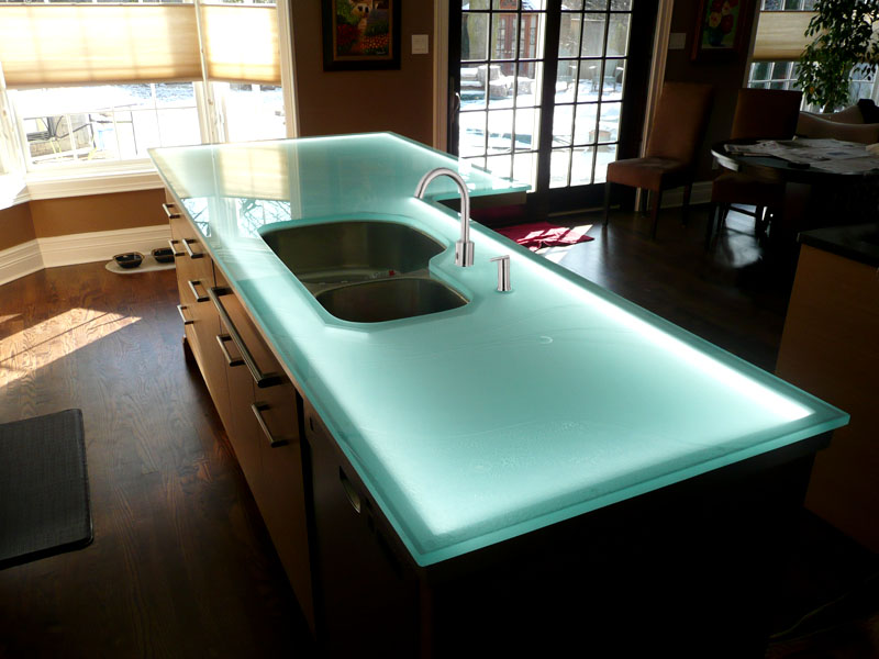 Glass worktop with lights