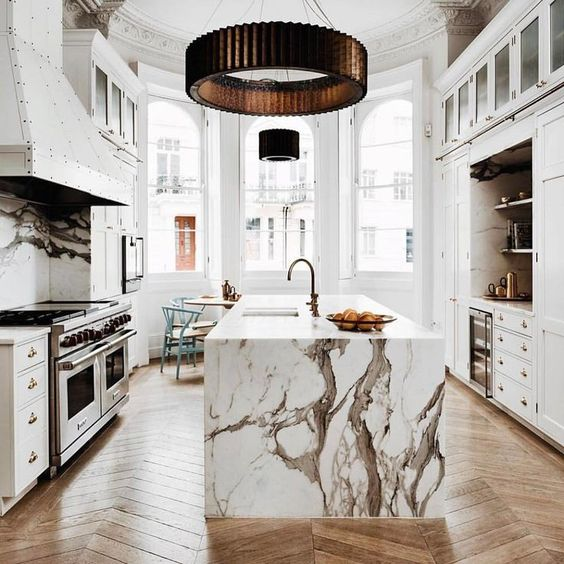 Crisp white marble worktops