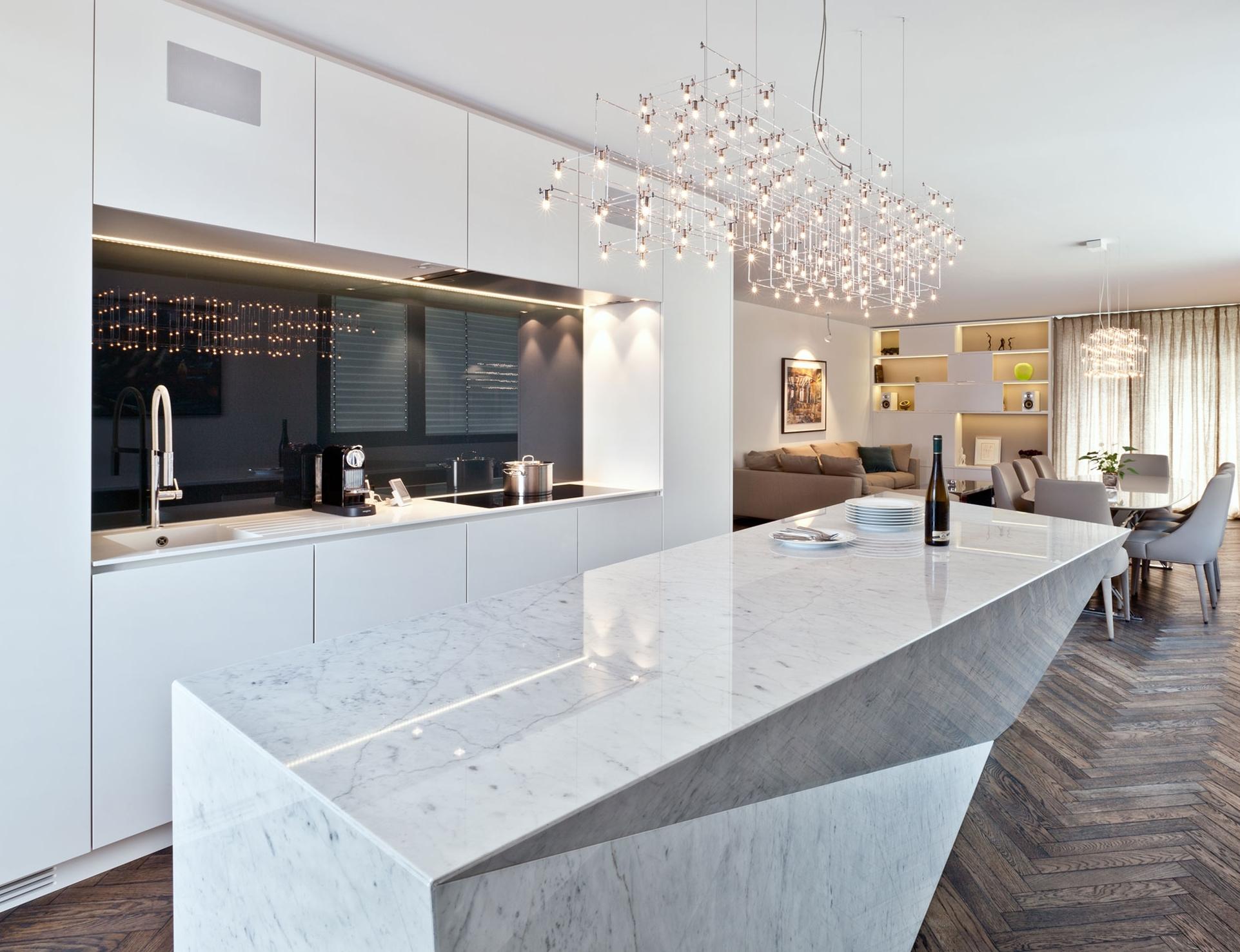 white granite counters